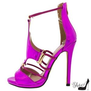 The Shoe Loft Shoes - Isabella Electric Fuchsia Open Toe Strappy Heels